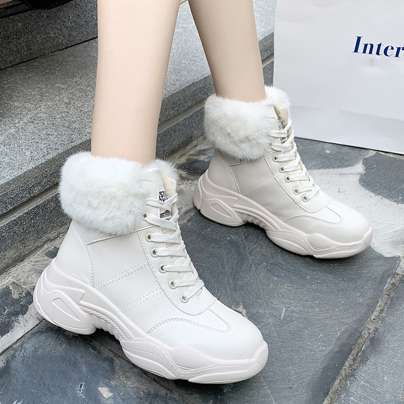 Rimocy Fur Collar Winter Snow Boots Women Warm Plush Lined Platform Sneakers Ladies Lace Up Waterproof Comfy Shoes White Black image