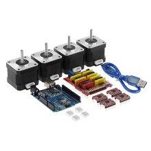 4-lead nema17 motor deslizante 42 motor + cnc escudo v3 máquina de gravura impressora 3d + 4 pces a4988 driver placa de expansão uno r3