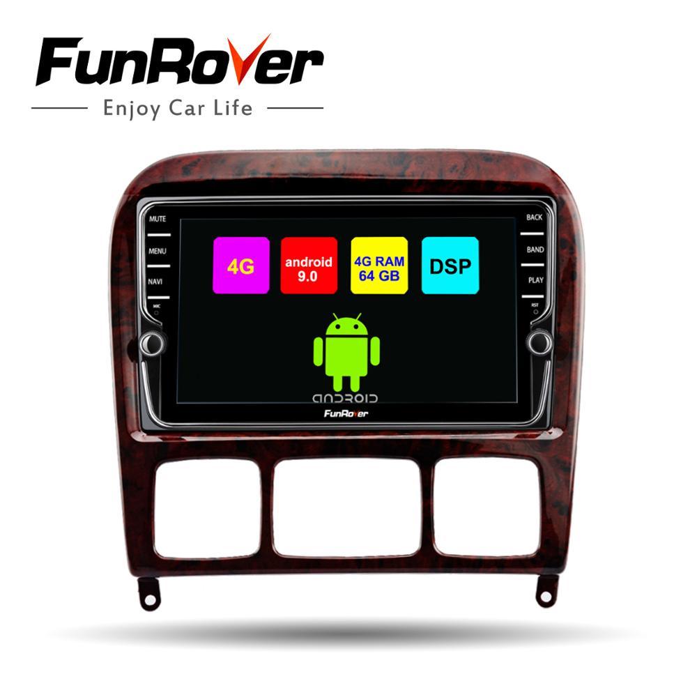 Lecteur gps Funrover android 9.0 2 din pour Mercedes Benz classe S S280 S320 S350 S400 S500 W220 W215 voiture dvd navi 4G + 64G