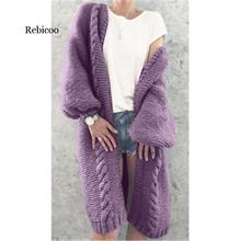 New Women Knitted Cardigan Winter Thick Warm Long Cardigan Female Long Sleeve Vintage Sweater Outwear Plus Size Coats women autumn winter leopard cardigan sweater coat female long sleeve plus size outer knitted tops pull warm thick blue
