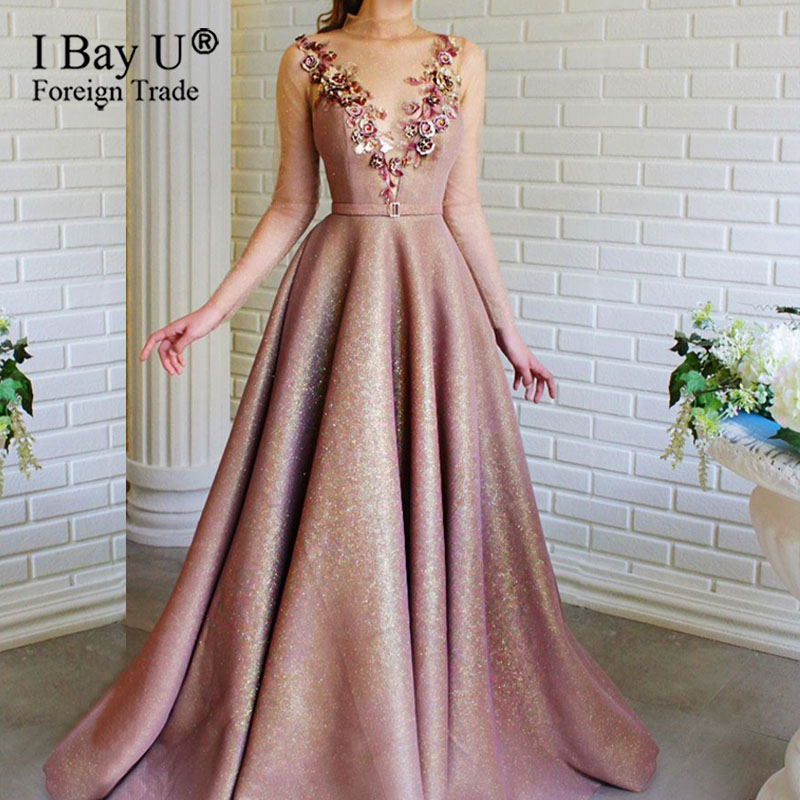 Luxury Soft Tulle Formal Party Dress 2020 Long Sleeves Evening Dress Transparent High Neck