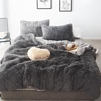 45 Pure Color Mink Velvet Bedding Sets 20 colors lambs wool Fleece Flat Sheet Duvet Cover Fitted Sheet Queen King size 4/6/7pcs