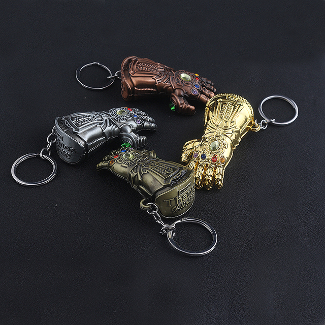The Avengers Thanos Gauntlet Keychain Infinity War Thanos Infinite Power Glove Keyring Men Car Chaveiro 2