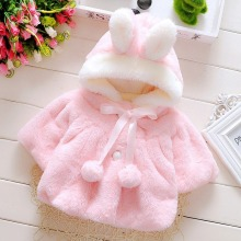 Baby girl shawl rabbit fur coat fashion children autumn winter clothes less infant cute jacket ears hooded