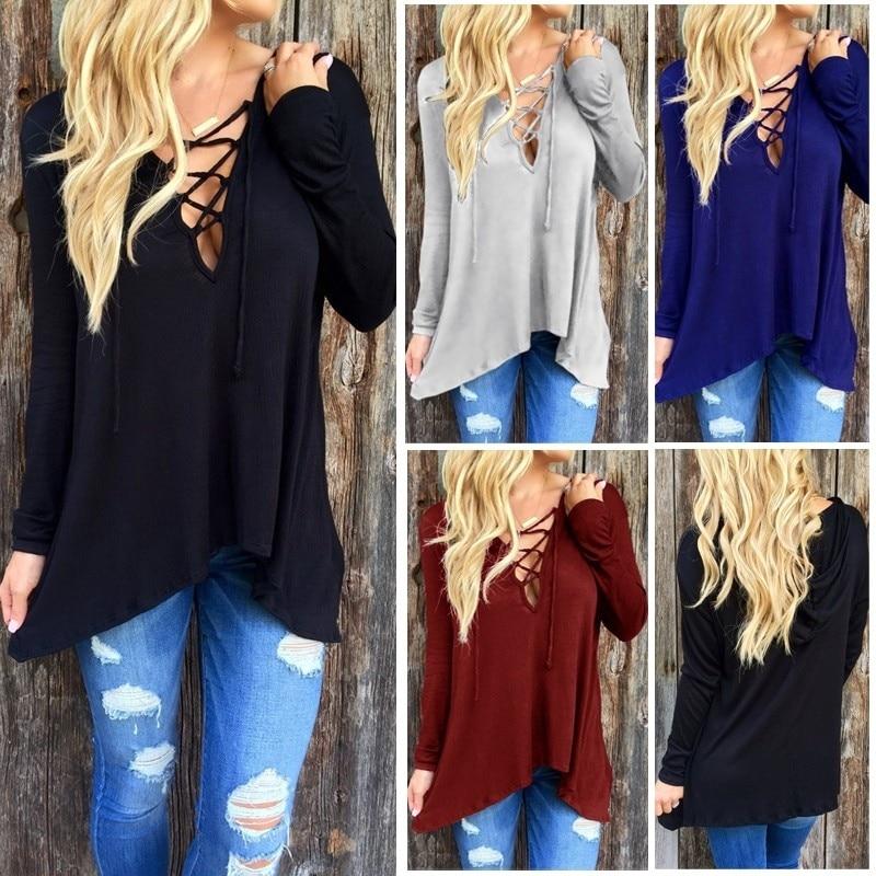 Love Lace Up Tie Casual fashion 2020 Women Low Cut V Neck Bandage Tops new Classics Comfort Elegance Shirt Blouse xxl