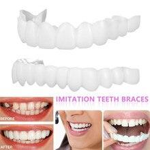 Dentadura cosmética superior/inferior snap no sorriso polietileno folheados instantâneos falsos dentes cobrir simulação chaves ferramenta de beleza cuidados orais