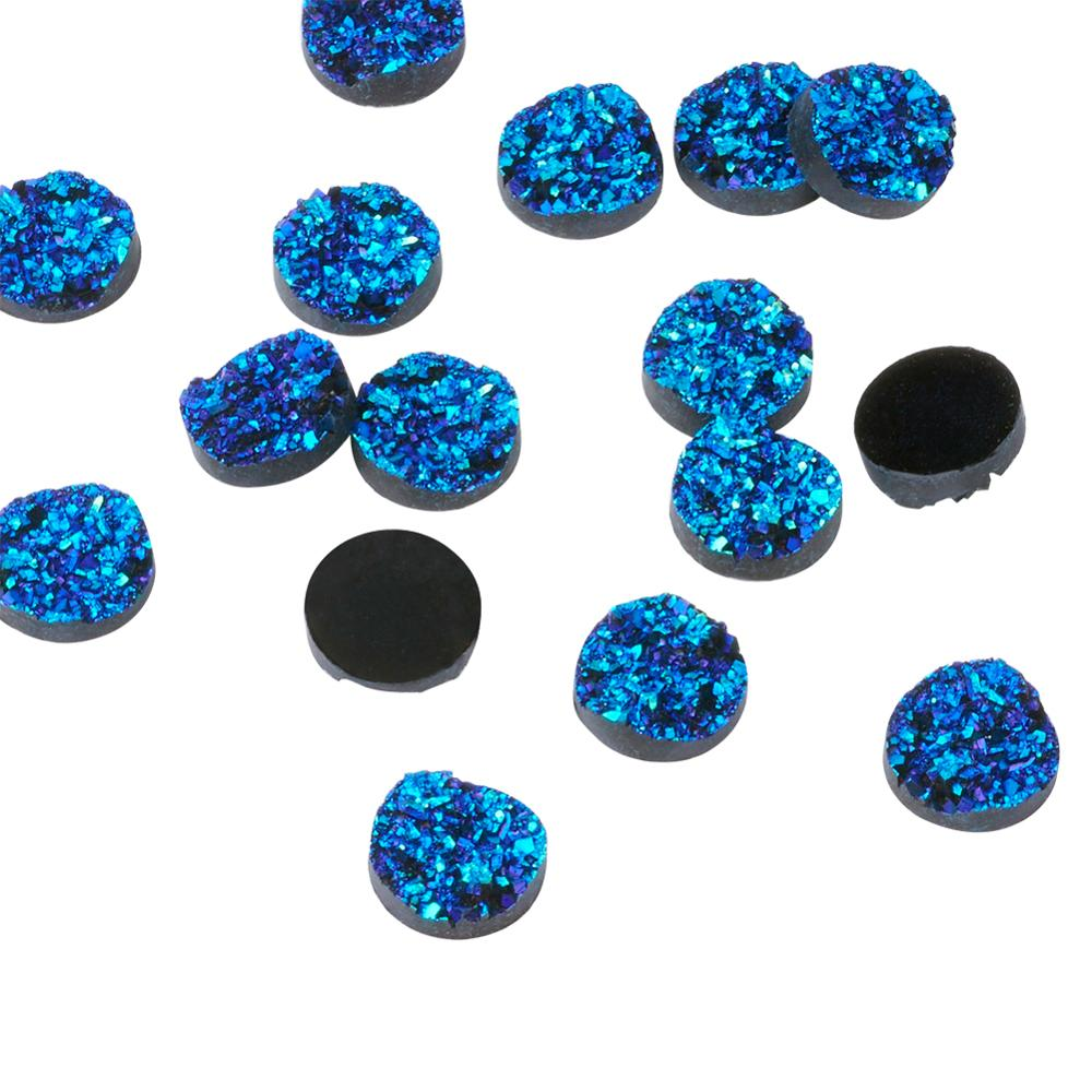 300pcs Flat Round Druzy Resin Cabochons For Jewelry DIY Making Bracelet 12x5mm