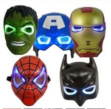 50pcs/lot LED Glowing Super Hero Hulk Batman Mask The Avengers Spiderman Captain America Iron Man Halloween Mask