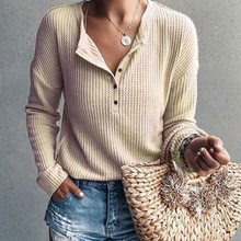 DSlim Striped Knit Women T-shirt Autumn 2019 New Elegant V Collar Button T shirt Casual Simple Solid Long Sleeve Wild Tee Tops rib knit striped t shirt