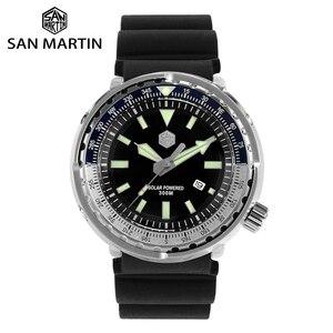 Image 1 - San Martin TONNO In Acciaio Inox Immersione Orologio Da Uomo della Vigilanza Del Quarzo VS37 Solare Data Display Super Glow
