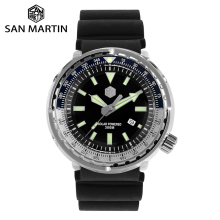 San Martin TUNA Stainless Steel Diving Watch Mens Quartz Watch VS37 Solar Date Display Super Glow