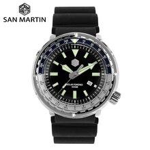 산 마틴 참치 스테인레스 스틸 다이빙 시계 남자 쿼츠 시계 VS37 태양 날짜 표시 슈퍼 글로우