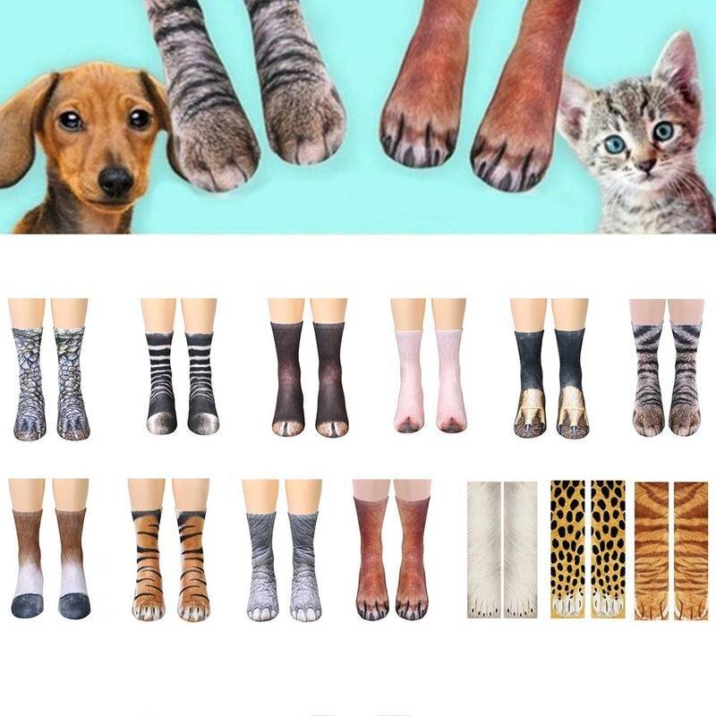 Adult Kids 3D Print Animal Paw Socks New Winter Warm Cotton Thick Plush Socks Unisex Fashion Creative Cat Paw Floor Long Socks
