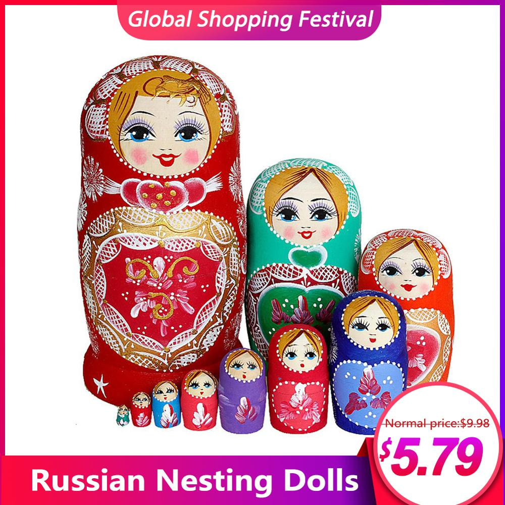 10 Teile/satz Russian Nesting Puppen Schöne Baby Linde Handgemachte Gemalt Buche Russische Matryoshka Puppe DIY Geschenk Spielzeug