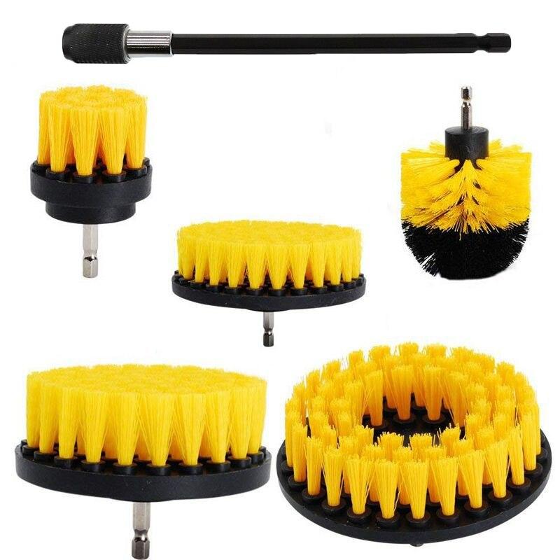 2/3.5/4/5 brosse à récurer électrique Kit de brosse de forage en plastique rond outil de brosse de nettoyage pour tapis verre voiture pneus brosses en Nylon