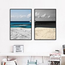 Black And White Beach Seascape Canvas Painting Blue Sea Scenery Art Wall Pictures Modern Nordic Home Decoration Poster No Frame(China)