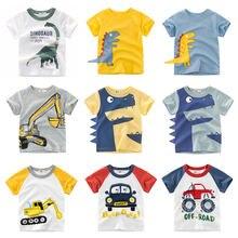 Boys T-shirt Summer Children Tops Clothing  Cotton Dinosaur Short Sleeve T Shirts Kids Boy White Girls Tee Toddler 2-8Years Baby