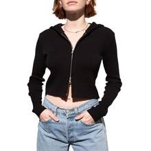 Goth Dark Vintage Grunge Gohtic Outerwear Women Harajuku Zipper Autumn 2019 hood