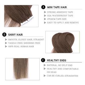"Image 2 - Neitsi מיני קלטת שיער טבעי דבק הרחבות שאינו רמי ישר Weft עור Invisible טבעי שיער 12 ""16"" 20 ""בלונד צבע"
