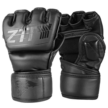 Half Finger Boxing Gloves PU Leather MMA Fighting Kick Boxing Gloves Karate Muay Thai Training Workout Gloves Men ZTTY  1