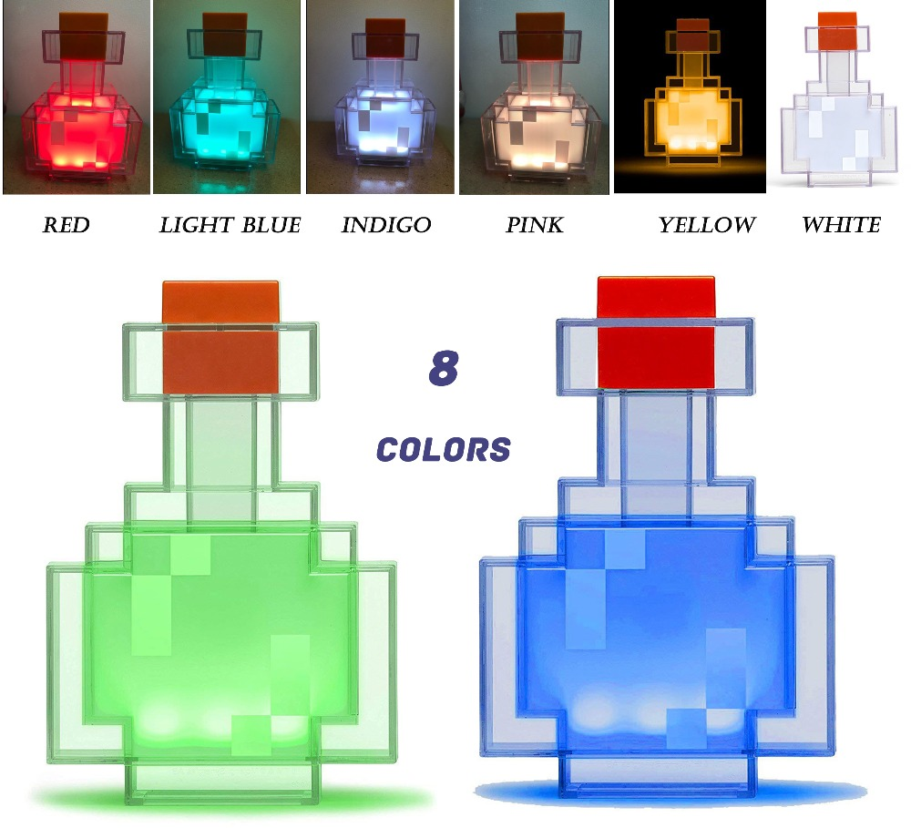 Minecraftingly Color Changing Potion Bottle With 8 Color LED Lamp Festival toys Vial Night Light gift for Kids