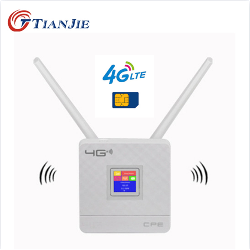 TIANJIE RJ45 WAN LAN Router 4G WIFI LTE Unlock CPE 300Mbps wireless Sim card Antennas Ethernet port Hotspot Modem Dongle Router