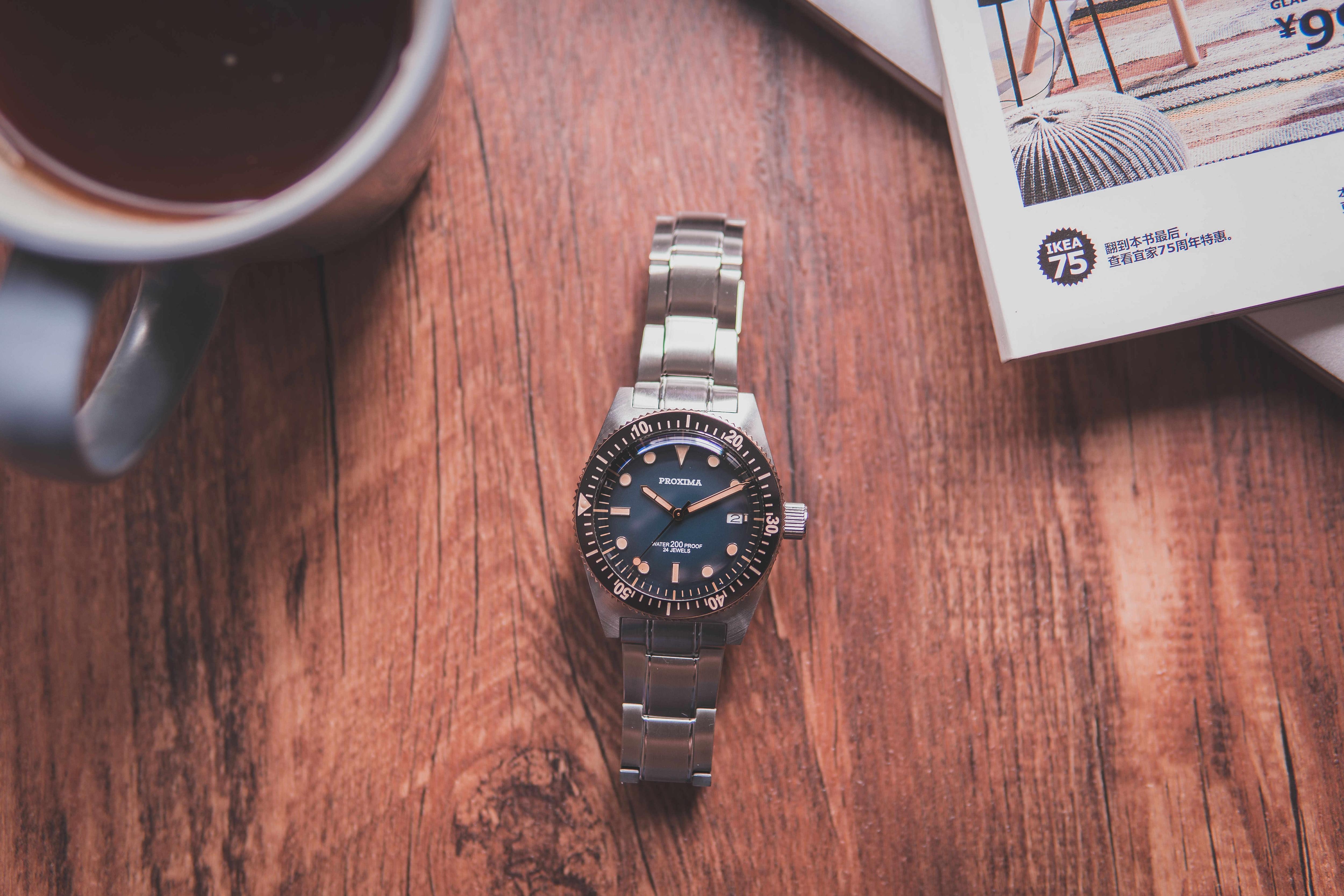 Proxima 男性ヴィンテージダイビング時計ステンレス鋼腕時計自動ブロンズ