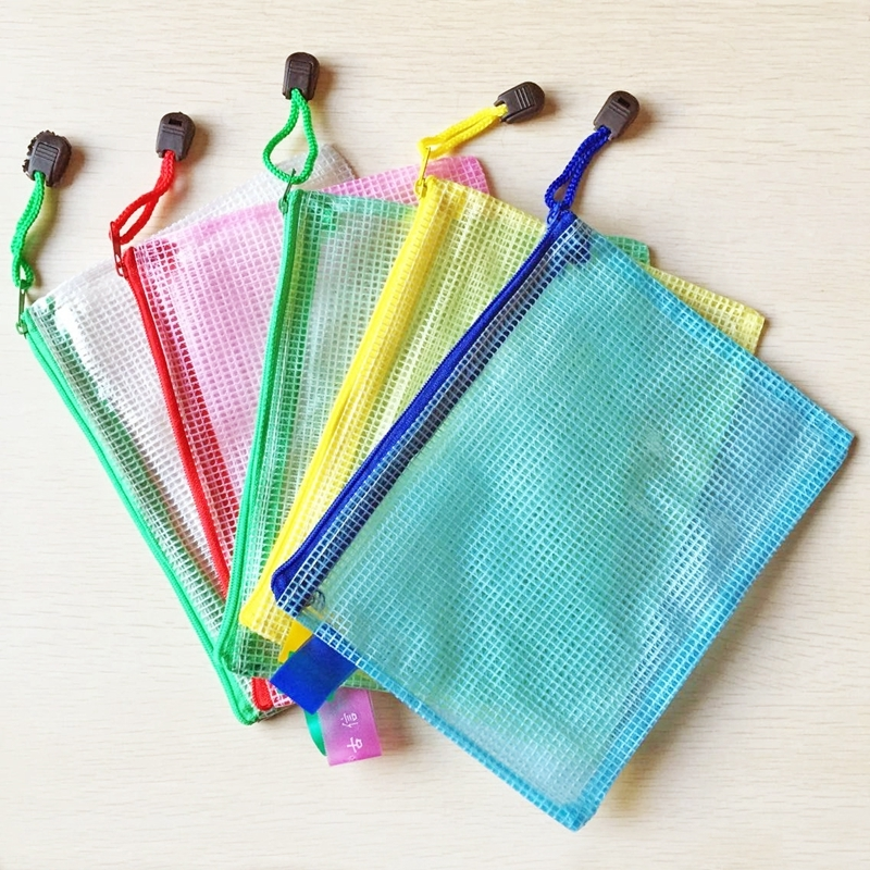 12 PCS A3 A4 A5 A6 B4 B5 B6 Zipper Plastic Mesh Stationery Bag File Folder Bag School Office Supplies Random Color Delivery