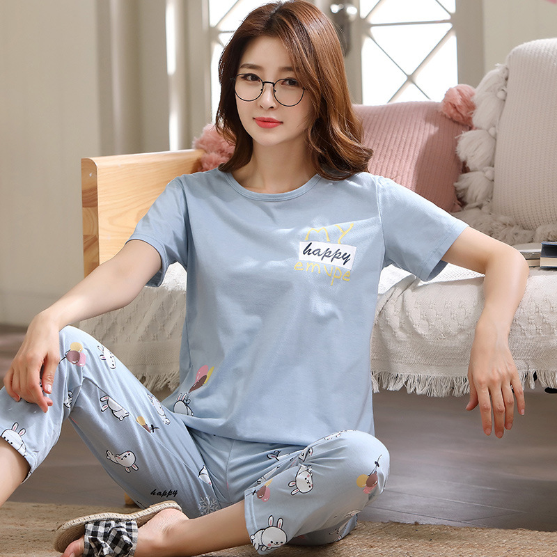 Korean-style Pajamas Cute Rabbit 5XL Summer Pure Cotton Short Sleeve Trousers Thin Type For Spring And Autumn Summer Women's Lar