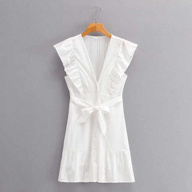 Tangada 2021 Summer Women Dots Hollow French Style Dress Ruffles Ladies Mini Dress Vestidos SY277 7