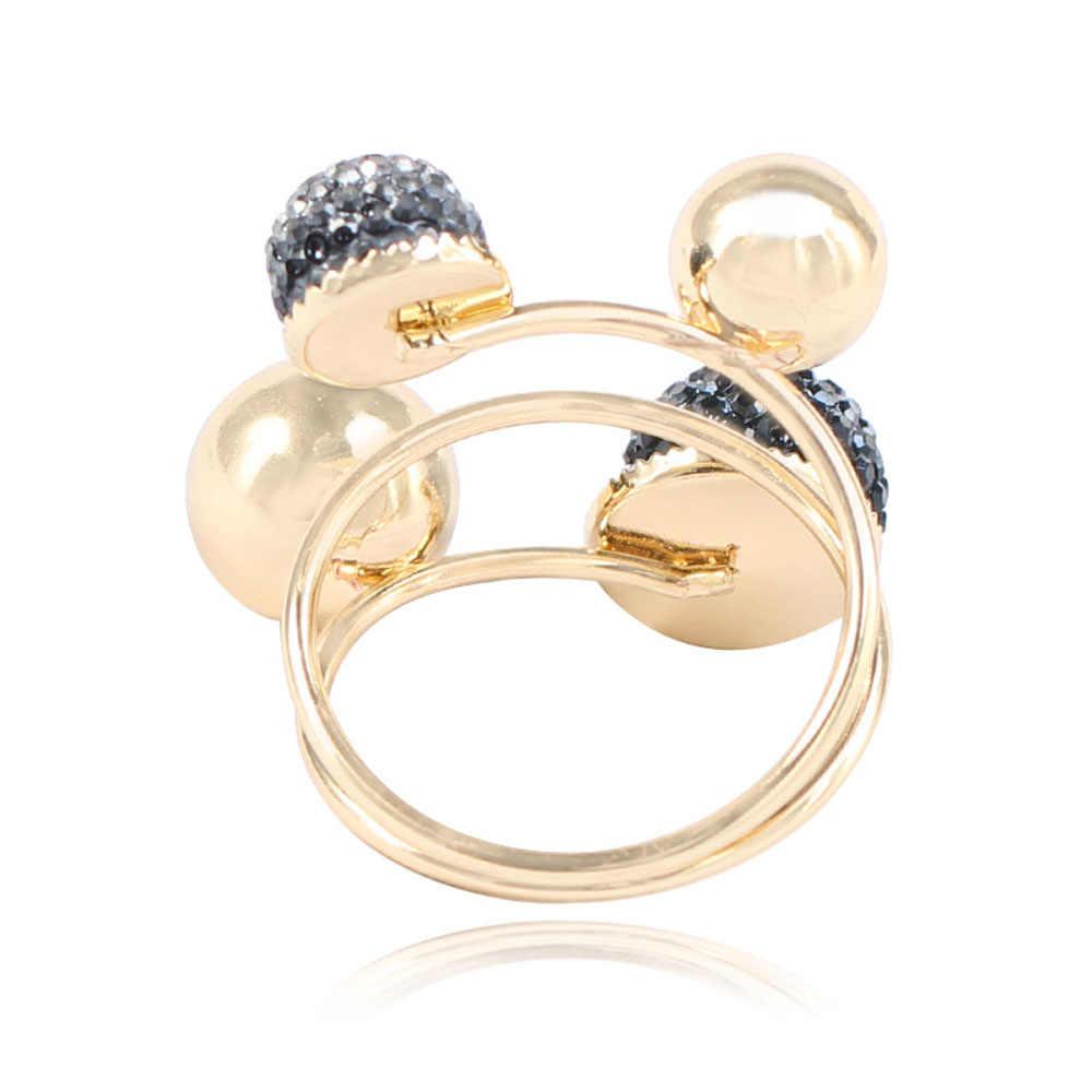 Bola de resina Pequeño anillo de judías doradas joyería Simple personalidad Punk anillo mujeres chicas anillos de apertura ajustables