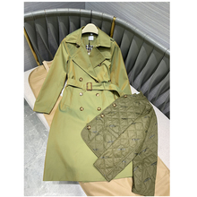 women trench coat long green color Double-Breasted Cotton