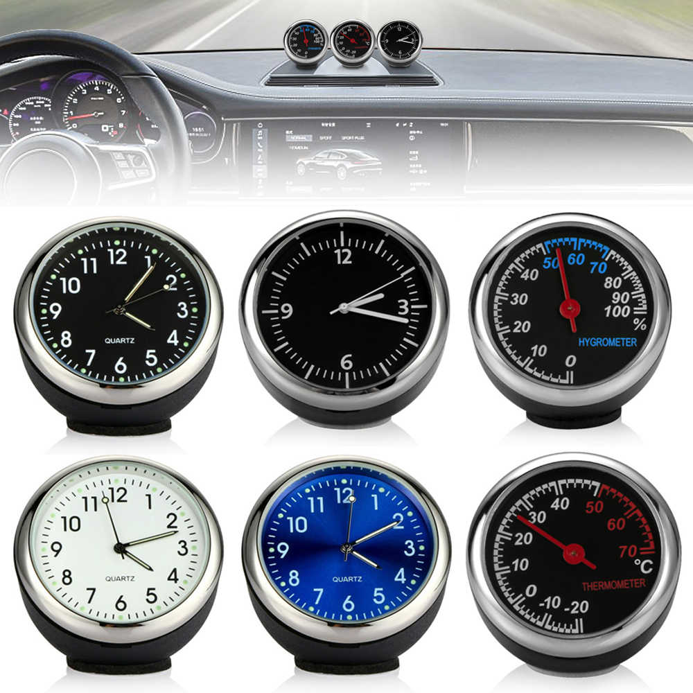Hot Sale Mobil Mini Mobil Auto Digital Clock Ornamen Thermometer Hygrometer Aksesoris Interior Mobil