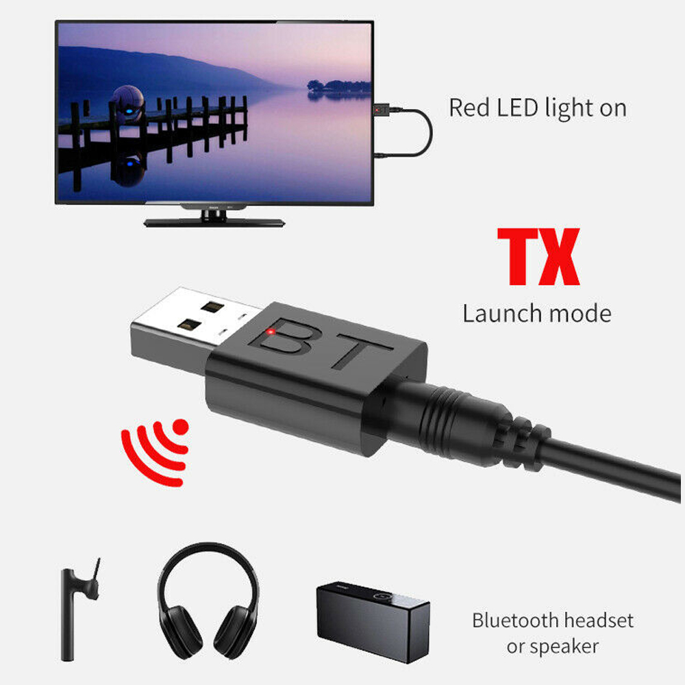 <font><b>Bluetooth</b></font> 5.0 Audio Transmitter Receiver USB <font><b>Adapter</b></font> For TV <font><b>PC</b></font> Car Speaker Black image