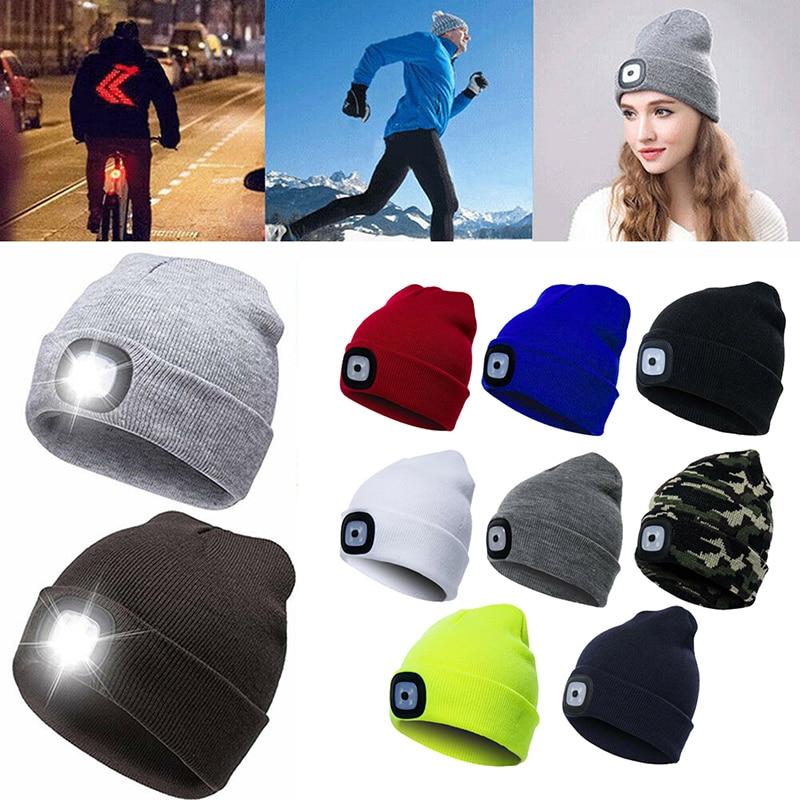 Шапка-бини в стиле хип-хоп для мужчин и женщин, вязаная шапка со светодиодный Ной подсветкой, для охоты, кемпинга, бега, рождественский подар...