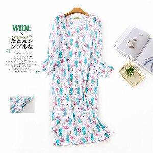 Image 3 - Adorável dos desenhos animados saia longa mulher sleepdress algodão manga comprida outono noite vestido feminino sleepwear plus size
