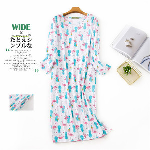 Image 3 - Lovely cartoon Long skirt women sleepdress cotton long sleeved autumn night dress women sleepwear plus size