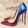 Roxo azul gradiente cor bombas de salto alto apontado dedo do pé 12cm stiletto saltos rasos sapatos de vestido marca festa sapatos de salto tamanho 45