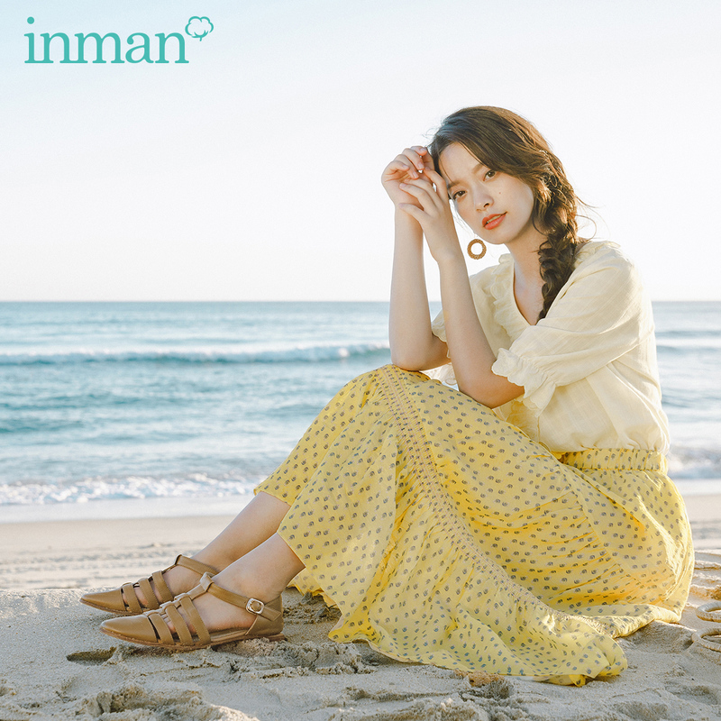 INMAN 2020 Summer New Arrival Girlish Pure And Fresh Printed Sweet Shivering Long Tiered Skirt