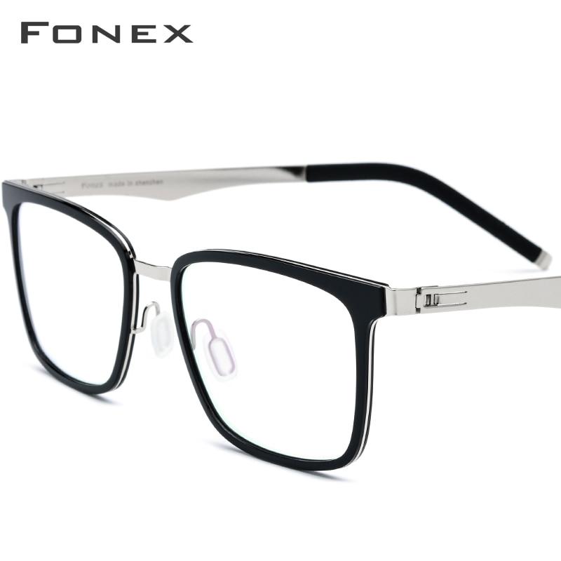 FONEX TR90 Glasses Men Square Eyeglasses Frame Women Prescription Myopia Optical Frames Spectacles Screwless Eyewear 516