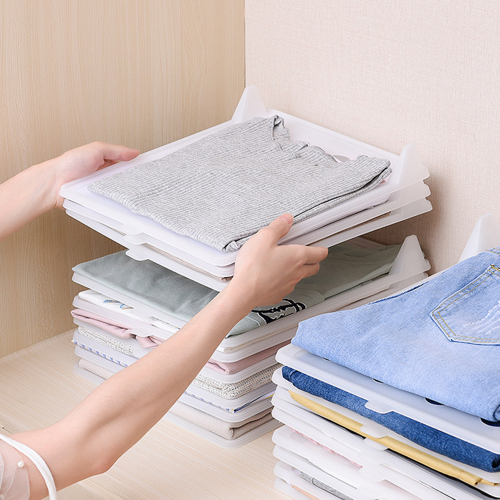5pcs/10pcs Clothes Folding Board Save Time Multifuncitonal Magic Fast Speed T-Shirt Clothes Easy Fold Organizer  S / L Size