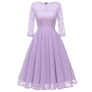 New Solid color lace evening gown chiffon party dresses prom gown wholesale fashion Dress Big yards formal dress