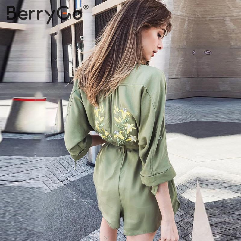 BerryGo Flower Embroidery Women Jumpsuit Short Casual Button Pocket Female Cargo Overalls Sash Office Ladies High Waist Playsuit