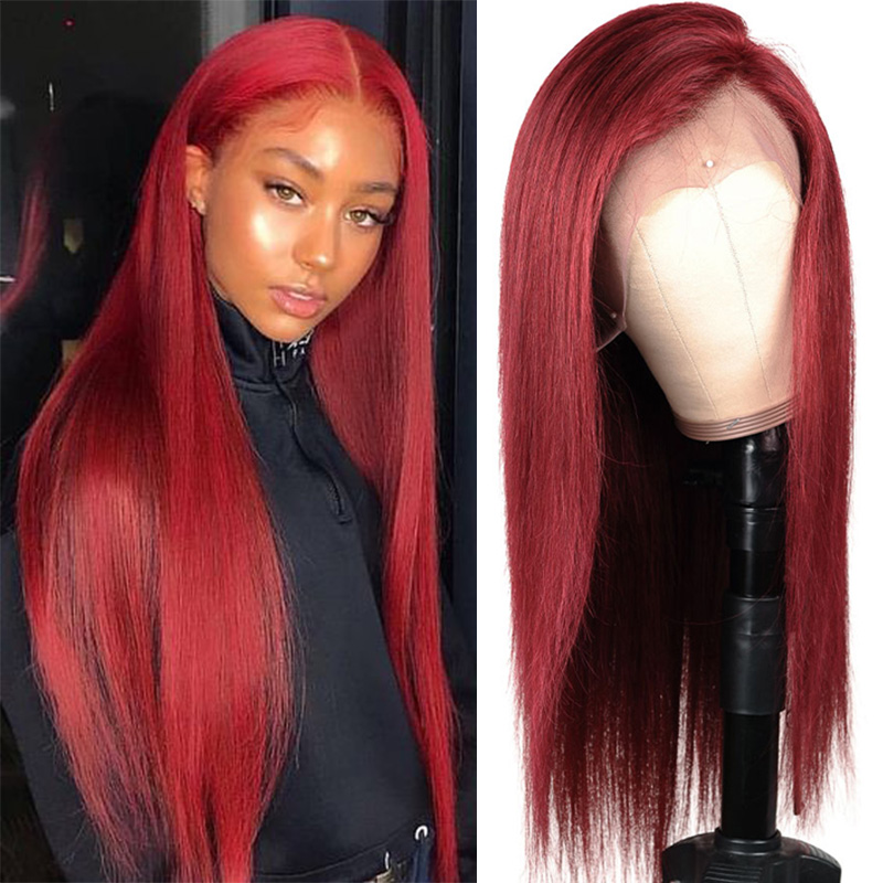 99J Burgundy Blonde Red Lace Front Human Hair Wigs 13x4 Lace Front Wigs Ombre Brazilian Straight Hair Wigs Black Women Remy Hair