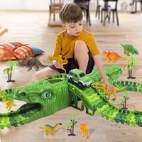 Pista de carreras de dinosaurios para niños, pista de carreras Flexible, luz Flash, juguete educativo, regalo, 153 Uds.