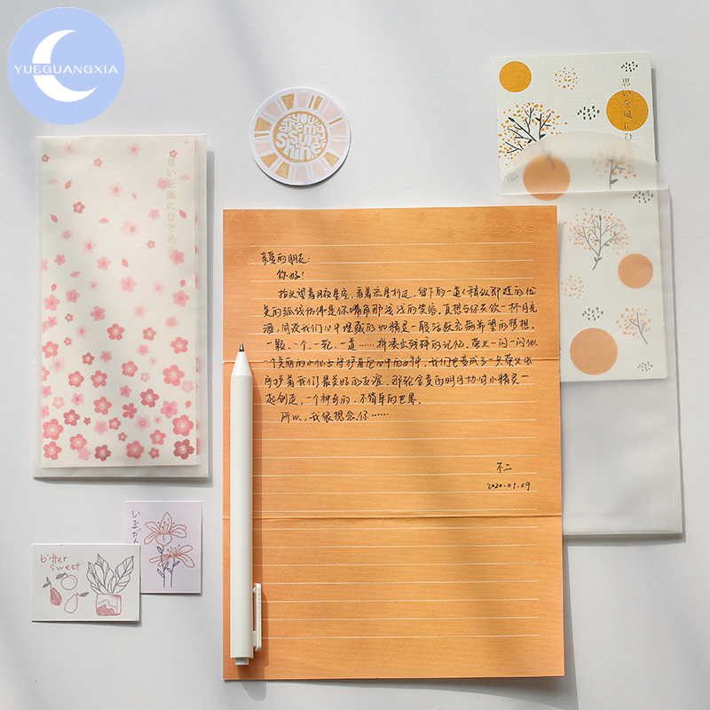 YueGuangXia 6 Designs Japanese Artistic Sakura Envelopes With Letter Paper Chinese Style Crane Flower Gift Envelopes 4pcs/lot