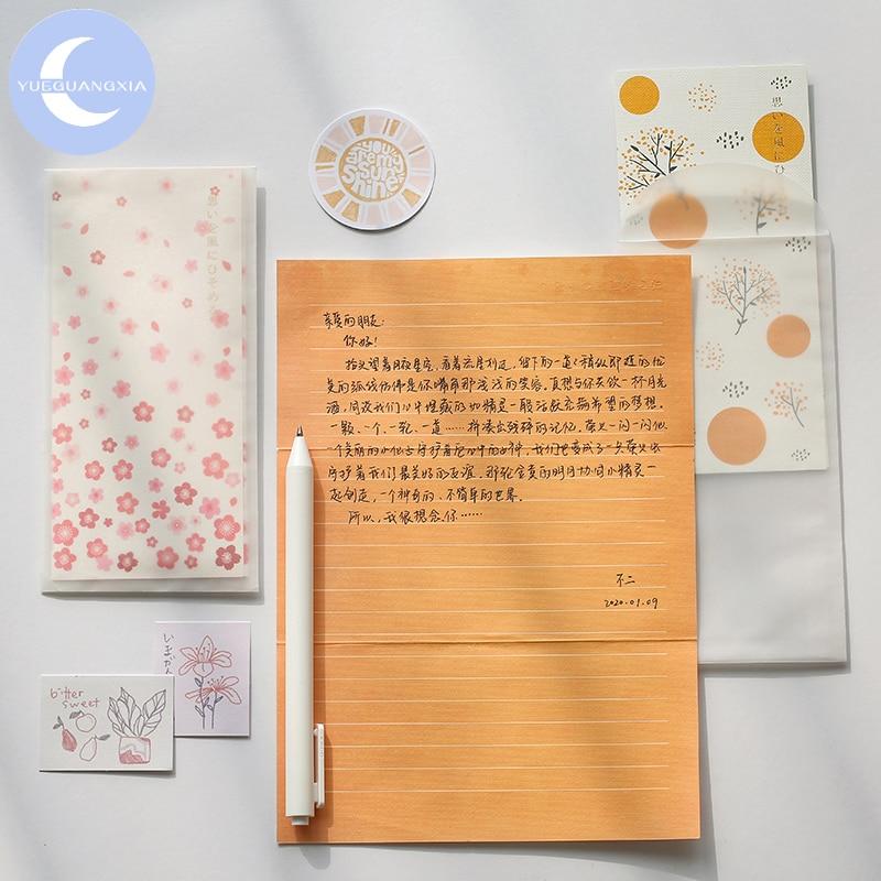 YueGuangXia 6 Designs Japanese Artistic Sakura Envelopes With Letter Paper Chinese Style Crane Flower Gift Envelopes 4pcs/lot