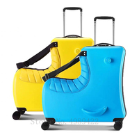 Neue Kinder Reiten Trojanl Gepäck Heißer Jungen Mädchen Reisen Trolley Legierung Kinder Sitzen Roll Gepäck Koffer Spinner Räder