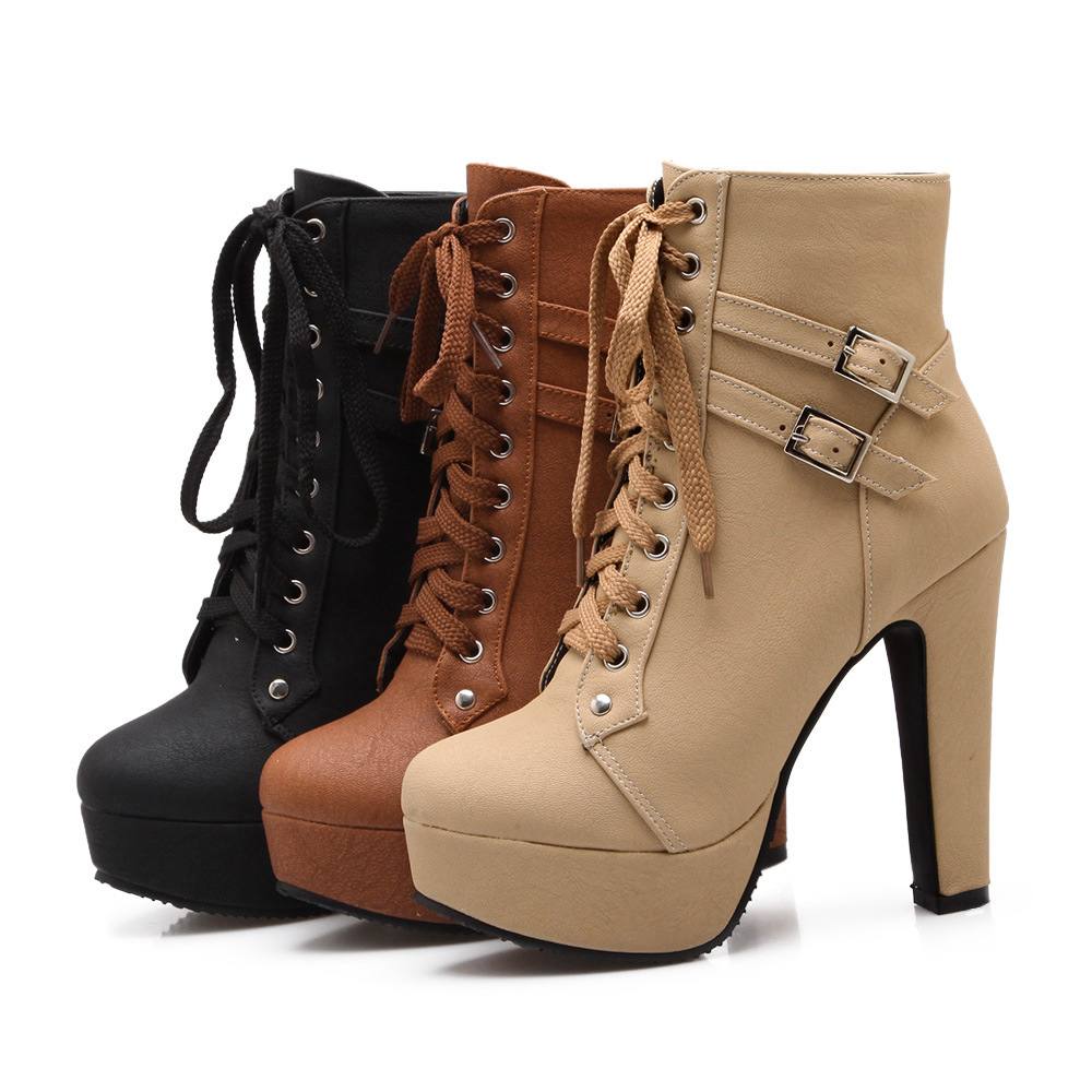 Ladies Shoes Boots-Buckle Ankle-Boots Platform Lace-Up High-Heel Sexy Plus-Size Women title=