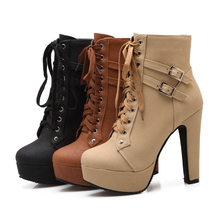 Plus Size Women Ankle Boots Platform Lace Up High Heel Women Boots